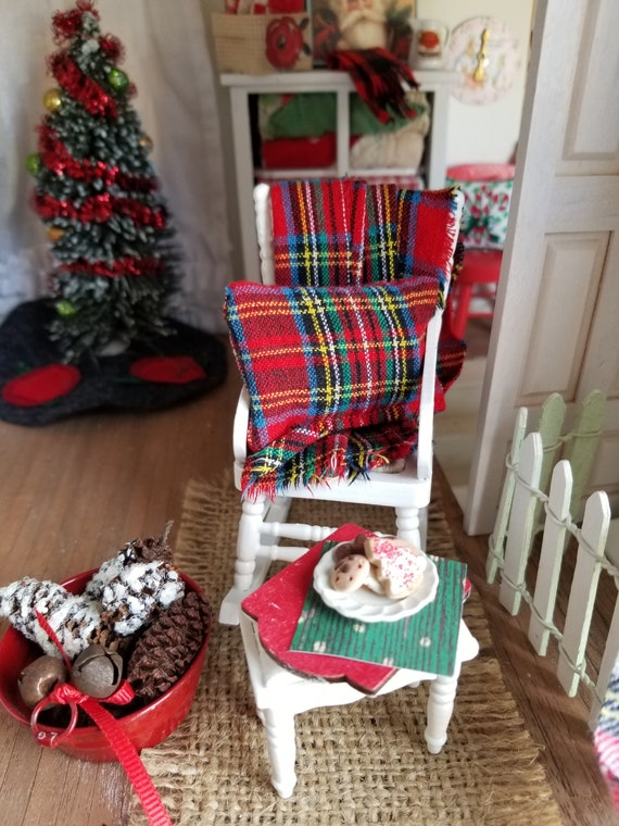 Miniature Christmas Plaid Throw and Pillow