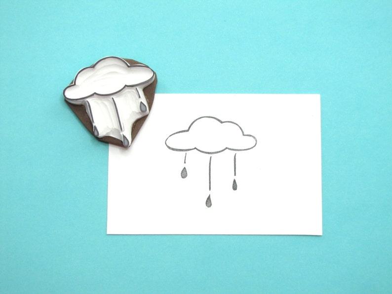 Rain cloud stamp medium sized with rain drops