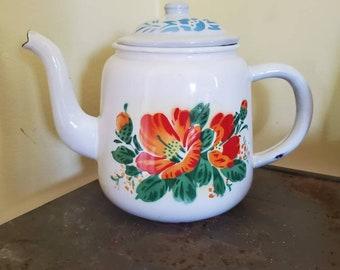Vintage Rich Brown Floral Design Gold Orange White Color Teapot