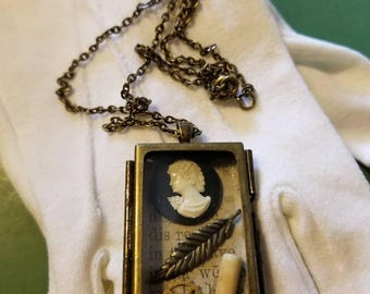 One of a kind, handmade Mini Memories cameo locket necklace