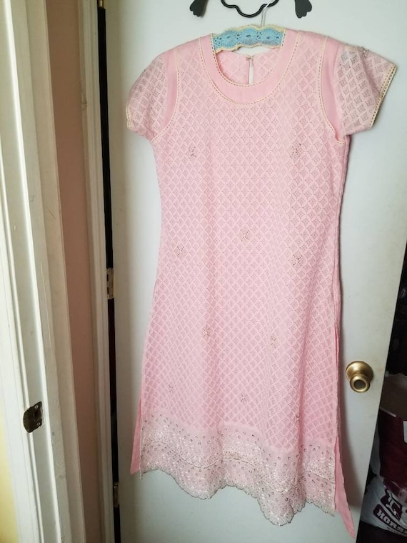 50s/60s, pink, beaded, lace, dress.