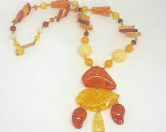 Big Bold 1960s Amber Lucite Sunshine Necklace