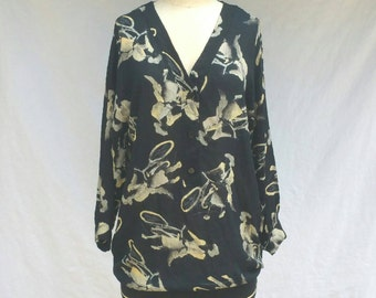 Ladies on Bicycles Blouse // 1980s Tunic