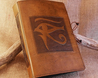 A5, Medium, Leather Bound Journal, Eye of Horus, Wedjat, Egyptian Journal, Brown Leather, Book of Shadows, Leather Notebook, Personalized.
