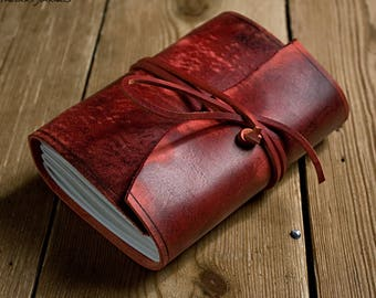 A6, Standard, Distressed Leather Journal, Leather Wraparound Journal, Travel Journal, Oxblood, Red Leather, Wrap Notebook, Blank Book, Diary