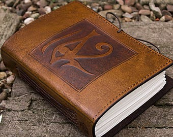 A6, Standard, Leather Bound Journal, Eye of Horus, Ra, Egyptian Journal, Brown Leather, Book of Shadows, Leather Notebook, Personalized.