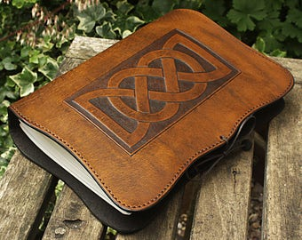 A5, Medium, Leather Bound Journal, Celtic Friendship Knot, Brown Leather, Celtic Journal, Leather Notebook, Blank Book, Personalized.