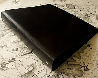 Large Classic Black Leather 4 Ring Binder, A4 Organizer (Filofax Compatible)