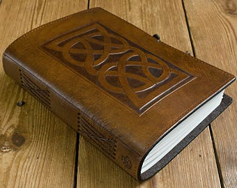 A5, Medium, Leather Bound Journal, Celtic Knot, Knotwork, Brown Leather, Irish, Celtic Journal, Leather Notebook, Blank Book, Personalized.
