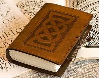 A6, Standard, Leather Bound Journal, Celtic Journal, Celtic Friendship Knot, Brown Leather, Leather Notebook, Personalized. LARP Journal.