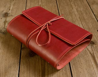 A5 Rugged Red Leather Wrap Ring Binder, Red Leather 6 Ring Organiser, Scarlet Leather Planner, Leather Wrap Binder, Filofax Compatible.