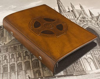 Personal Size Brown Leather 6 Ring Binder, Celtic Cross Design, Filofax Compatible Organizer, Travel Planner, Ringbinder, Free Initials.