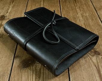 A5 Rugged Black Leather Wrap Ring Binder, Black Leather 6 Ring Organiser, Black Leather Planner, Leather Wrap Binder, Filofax Compatible.