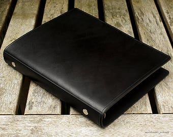 Classic Black Leather 6 Ring Slimline Binder, A5 Organizer (Filofax Compatible)