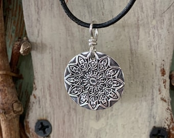 Yellow Red Mandala Pendant Charm Necklace Circle spiritual necklace on short silver chain gift for her