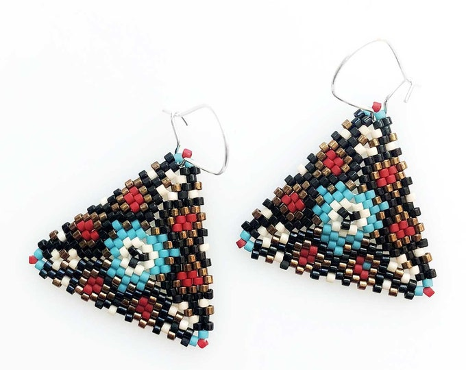 Beaded Pyramid Earrings in Turquoise and Coral