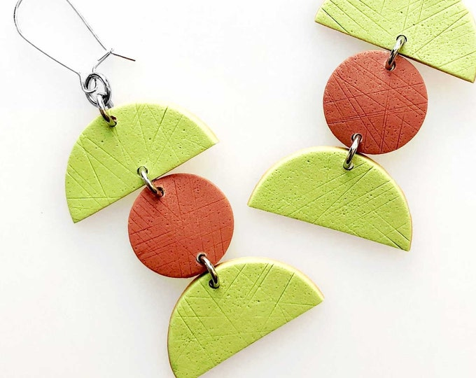 Minimalist Geometric Triple Drop Earrings - Lime Green and Terracotta