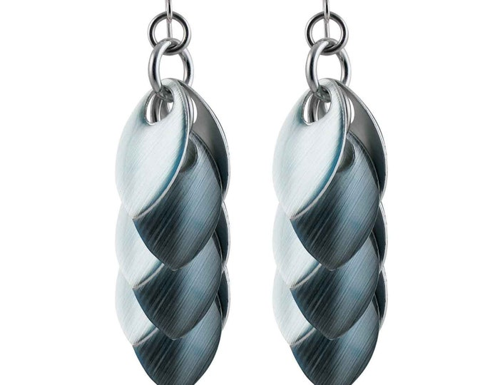 Iced Lapis over Silver Dangle Earrings - Available in 3 Lengths