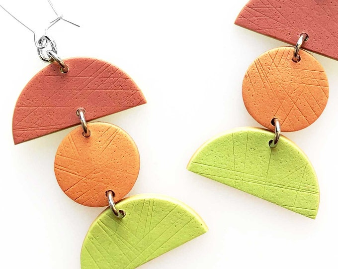Minimalist Geometric Triple Drop Earrings - Lime Green, Orange and Terracotta