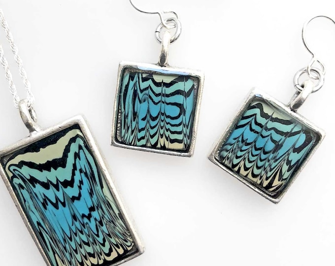 Beach Sand Ripple Pendant and Earring Set