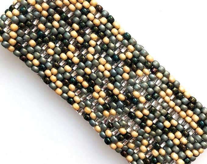 Pacific Tide Pool Bead Stitched Cuff - Sandy Gold, Seaweed Green, Sage, Silver