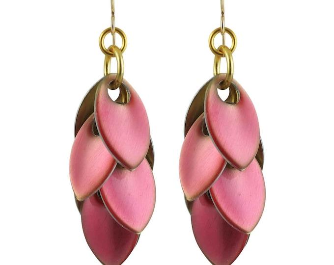 Iced Rose Quartz over Gold Dangle Earrings - Available in 3 Lengths