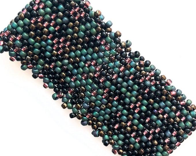Far Far Away Bead Stitched Cuff - Green, Plum