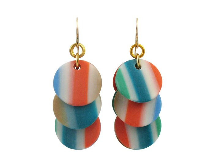 SOLD - Stripes #1 - Circle Earrings - SOLD