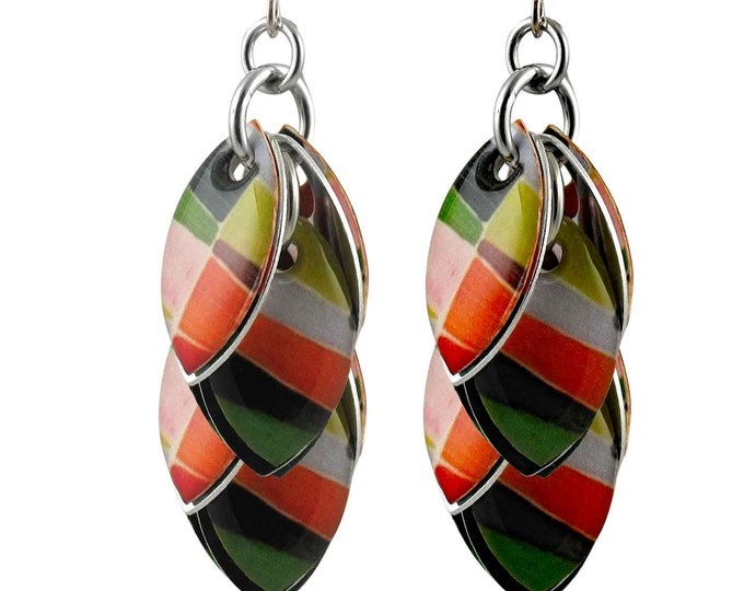 Patchwork Dangle Earrings - Available in 3 Lengths