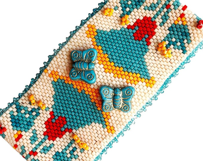 Life on the Nile Bead Stitched Cuff - Butterflies, Lotus Blossoms