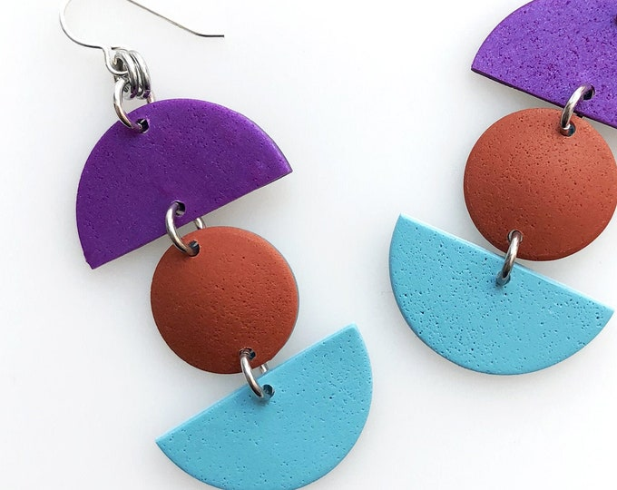 Minimalist Geometric Triple Drop Earrings - Purple, Rust, Turquoise