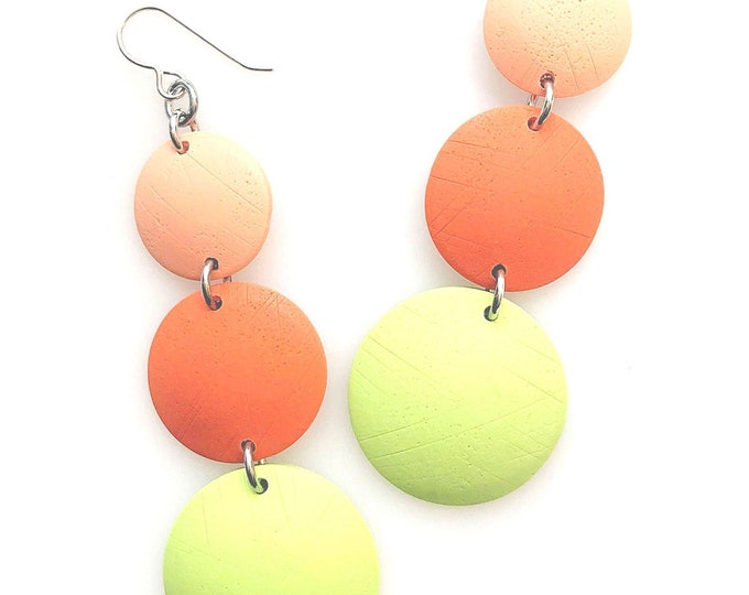 Minimalist Geometric Triple Drop Circle Earrings in Peach, Pumpkin and Pistachio