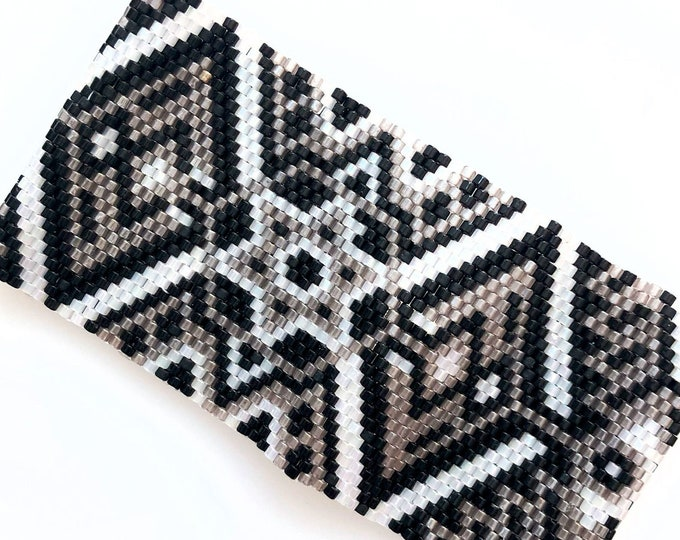 Ethnic Inspired Geometric Bead Stitched Cuff - Black, White, Silver, Taupe