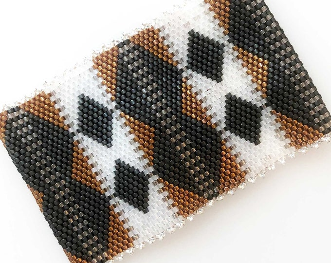 Art Deco Inspired Bead Stitched Cuff Bracelet - Slate, Topaz, White Opal, Taupe