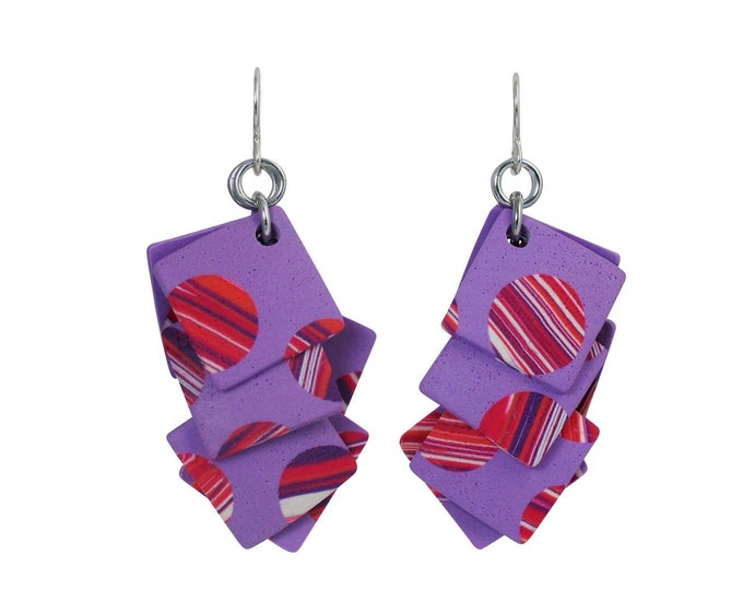 Stripes #10 - Layered Square Earrings