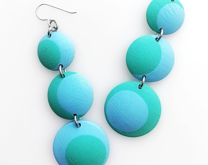 Minimalist Geometric Triple Drop Circle Earrings in Blue and Green