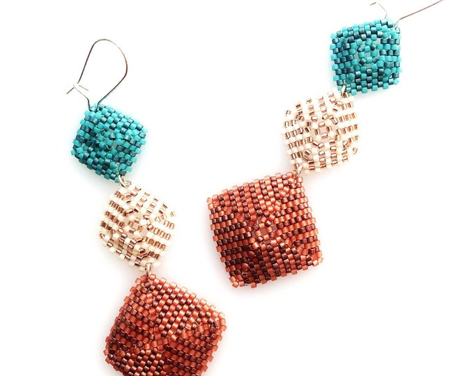 Triple Drop Beaded Earrings in Turquoise, Papaya and Berry