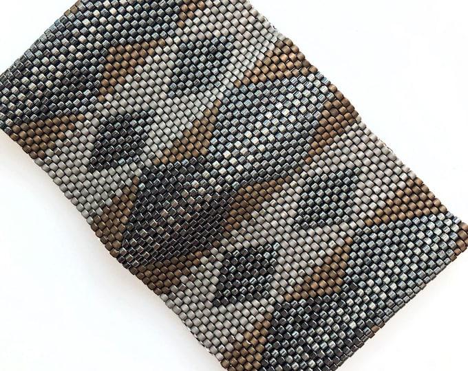 Art Deco Inspired Bead Stitched Cuff Bracelet - Iridescent Gunmetal, Dark Topaz, Taupe Luster, Silvery Grey