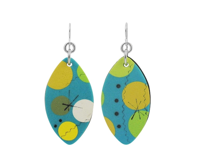 SOLD *** Cosmos #1 - Mixed Media Shield Earrings *** SOLD