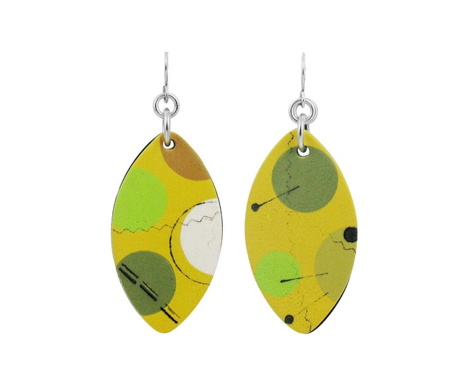 Cosmos #2 - Mixed Media Shield Earrings
