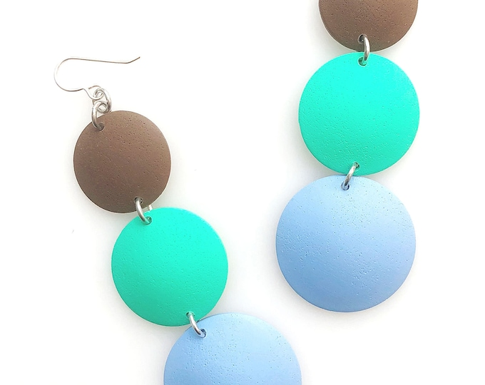 Minimalist Geometric Triple Drop Circle Earrings in Cowboy, Shamrock, Bluestone