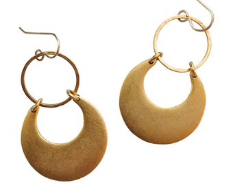 Moon and Tide Earrings in Burnished Gold - Available in Gold or Silver