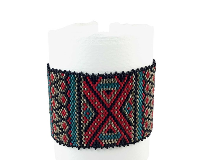 Ethnic Inspired Wide Bead Woven Cuff
