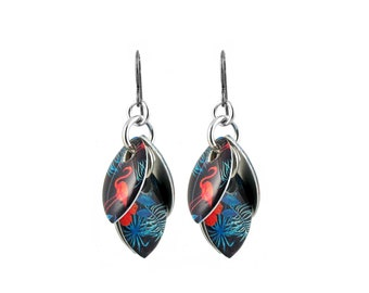 Blue and Orange Flamingos Petals to the Metal Cluster Earrings