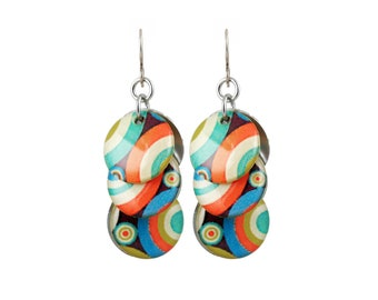Circle Earrings with Multicolor Circle Stripes