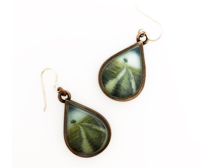 Every Day is a Winding Road Copper Dangle Earrings