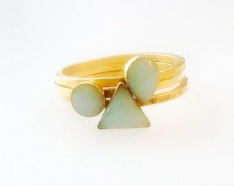 Stacking Ring Set in Aquamarine and Gold - Available in Gold or Silver