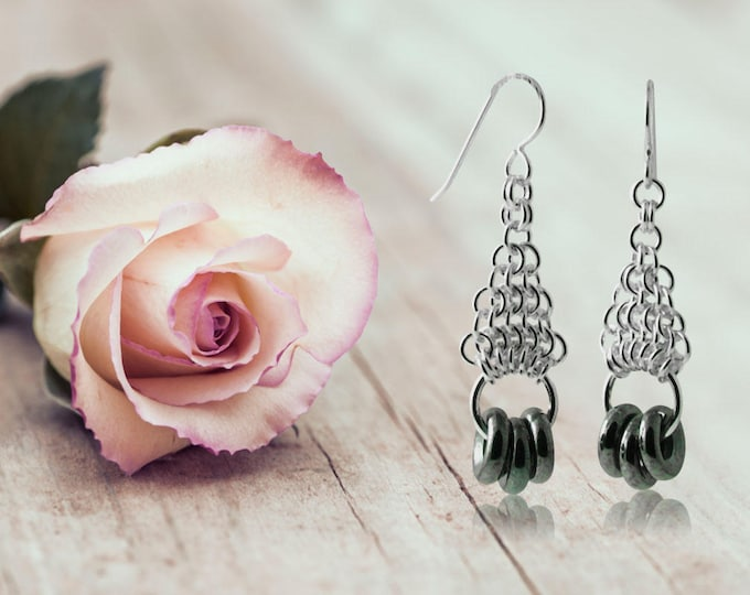 Intellect Love Power Earrings - Iridescent Gunmetal - Wedding and Bridal Jewelry