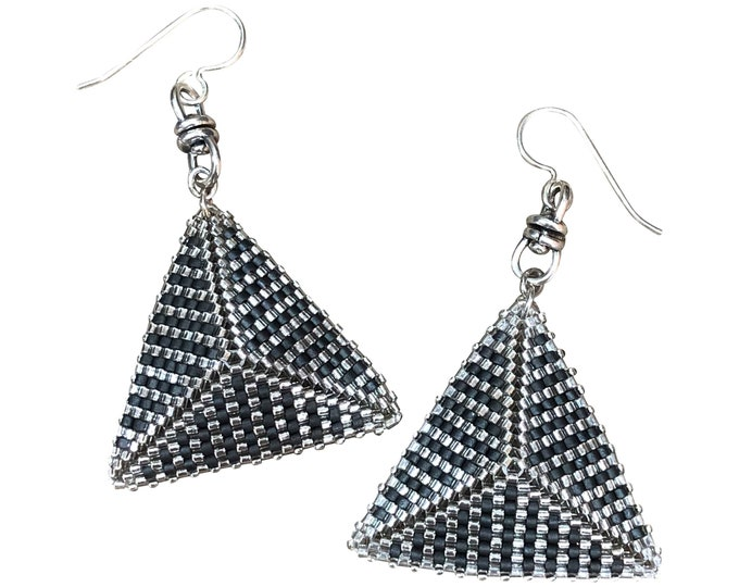 SOLD *** Art Deco Inspired Pyramid Earrings in the colorway If I Were a Tuxedo