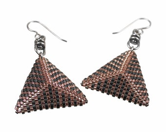 Art Deco Inspired Pyramid Earrings in Copper and Slate